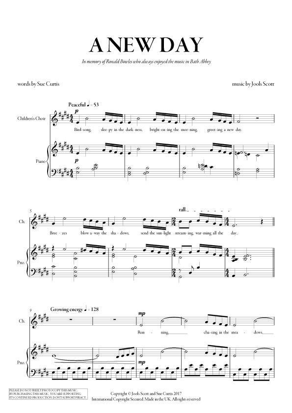 A New Day (sheet music PDF) by Jools Scott and Sue Curtis