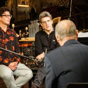 Composers Jools Scott and Dirk Brossé being interviewed by VRT journalist Ivan Ollevier
